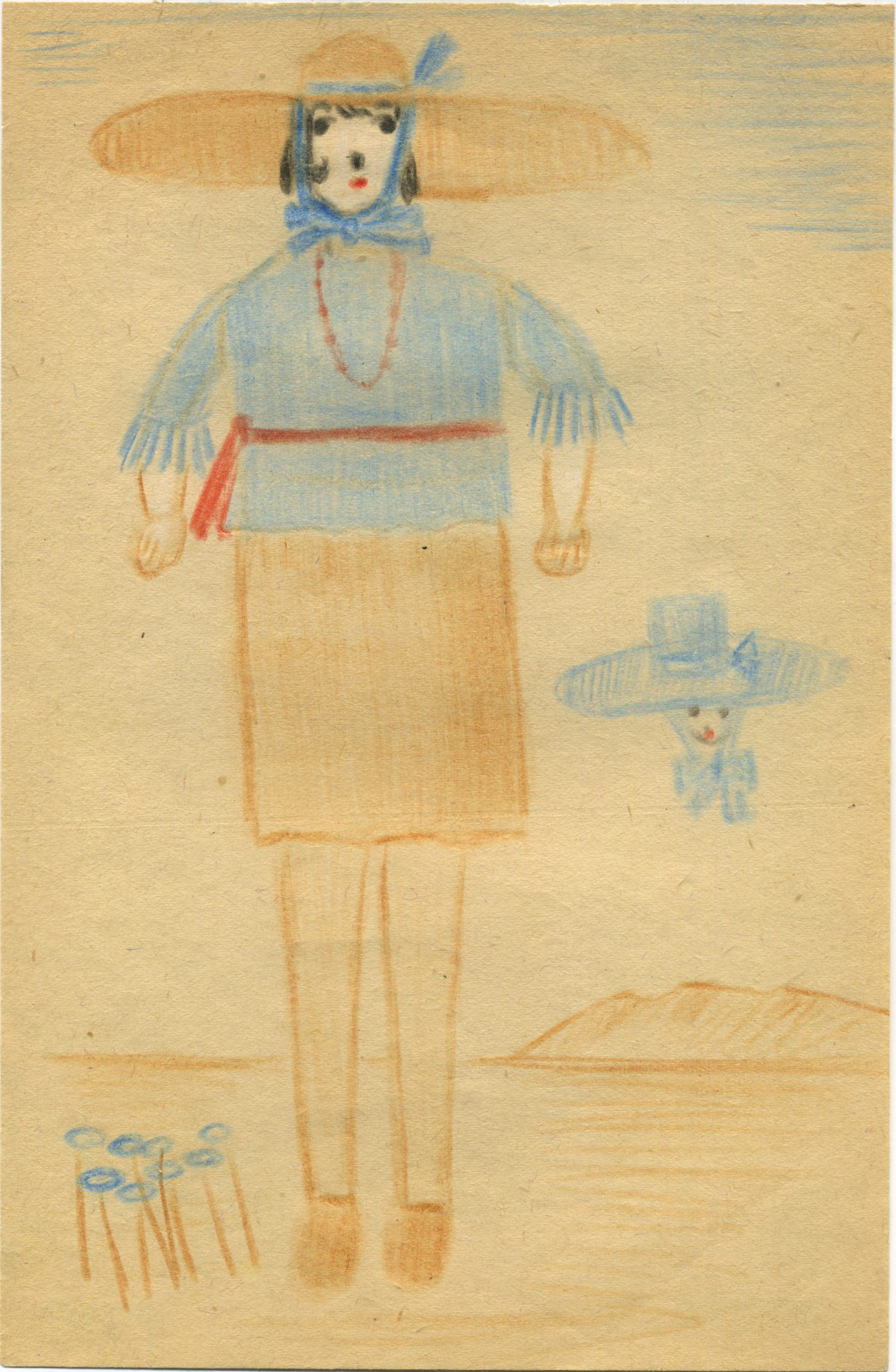 Bertha Wuilleumier    Untitled  , 1953 Color pencil on paper 8.2 x 5.3 inches 20.8 x 13.5 cm BWu 12