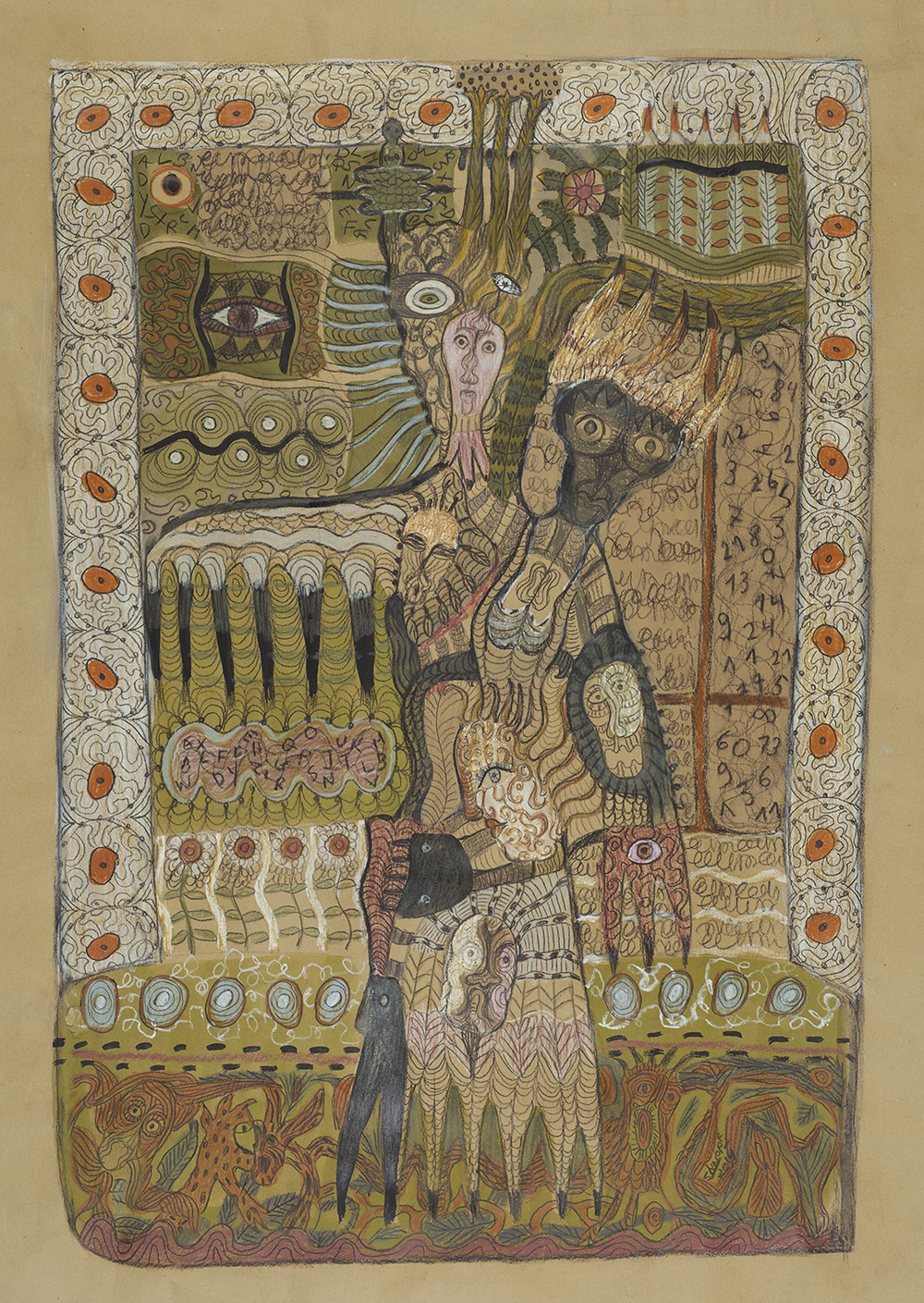 Solange Knopf    Iboga  , 2014 Acrylic, colored pencil, and graphite on Kraft paper 27.5 x 19.5 inches 69.9 x 49.5 cm SoK 70