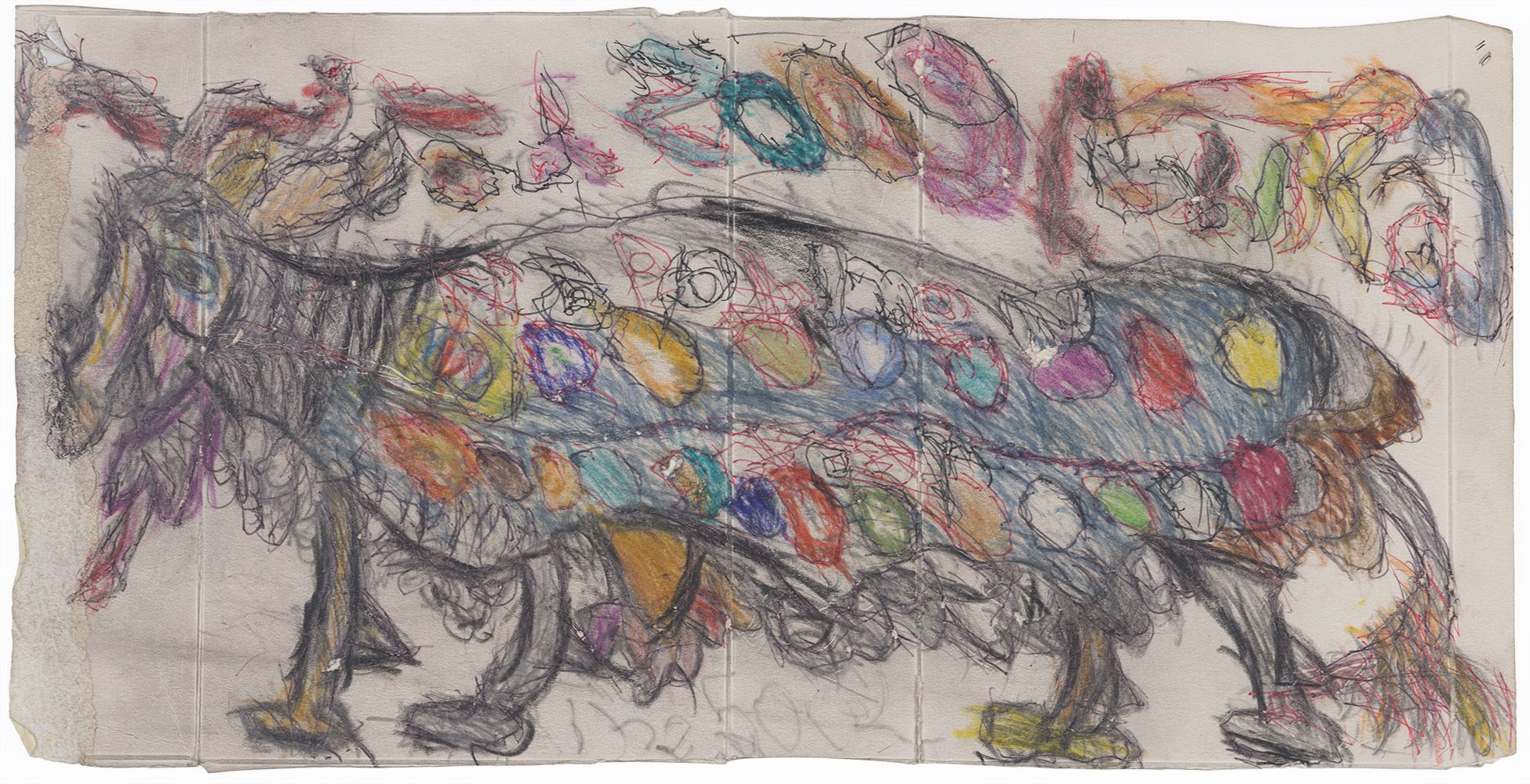 Ilya Natarevich,   Untitled  , 2015,Ink, graphite, crayon on cardboard,8.75 x 17.25 inches,22.2 x 43.8 cm,INa 6