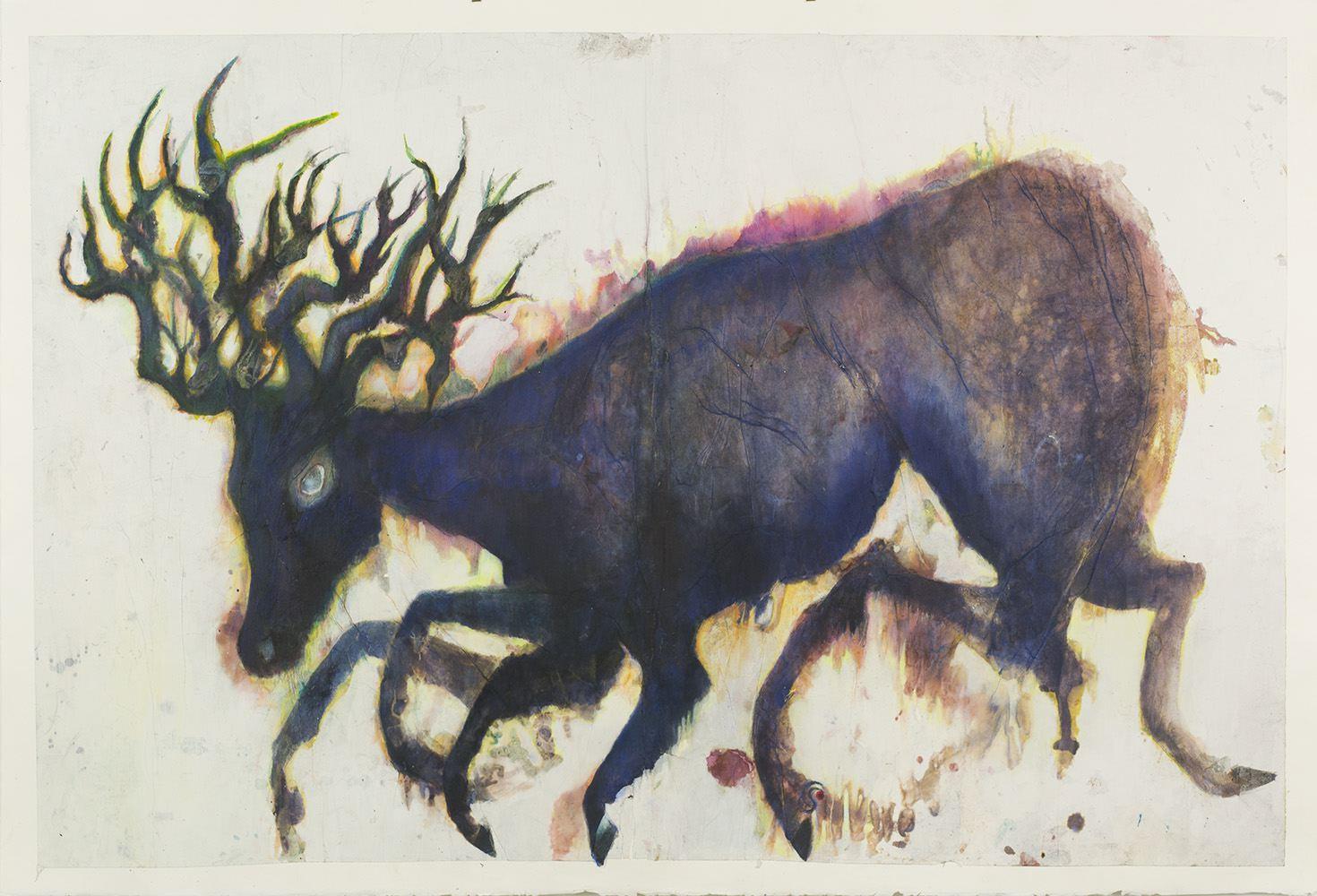 Christine Sefolosha,   Véloce  , 2015,Ink, mixed media, chine collé on Arches paper,40 x 58 inches,101.6 x 147.3 cm,CSe 108