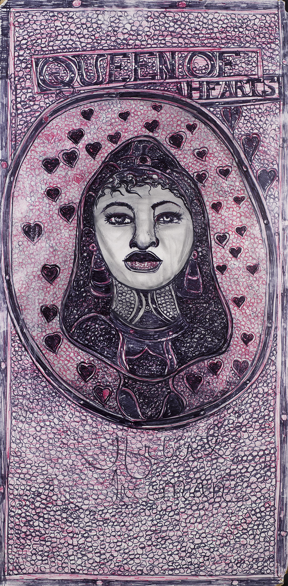 Herbert Freeman    Queen of Hearts  , 2015 Colored pencil and graphite on board 33 x 16.5 inches 83.8 x 41.9 cm HFr 43