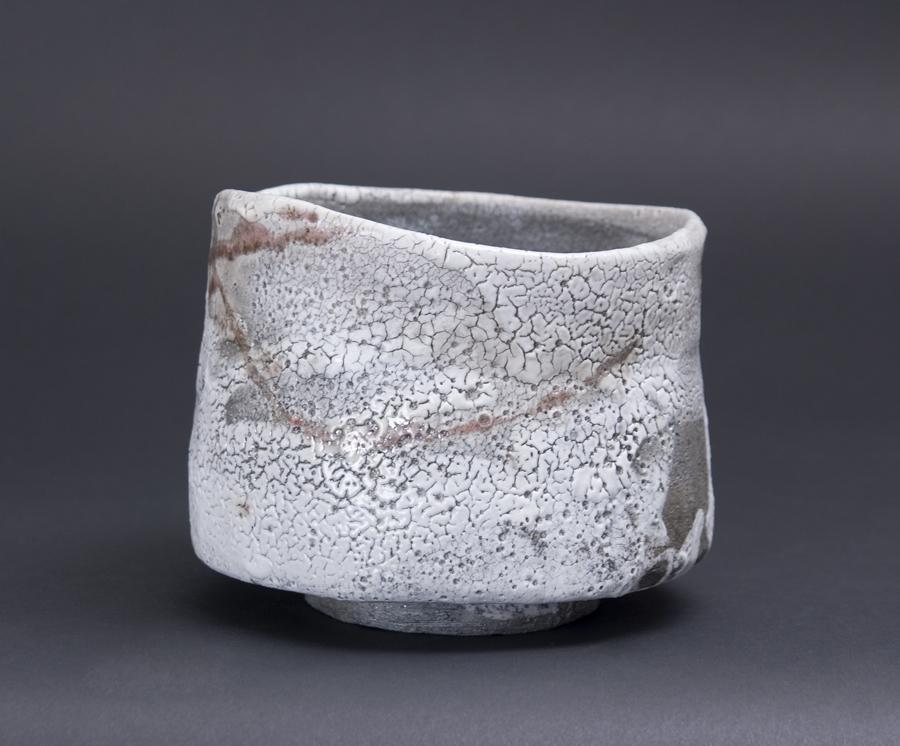 Akira Satake    Chawan  , 2010 Hikidashi, Shino Glaze 4.5 x 5.5 x 5.5 inches 11.4 x 14 x 14 cm ASA 12