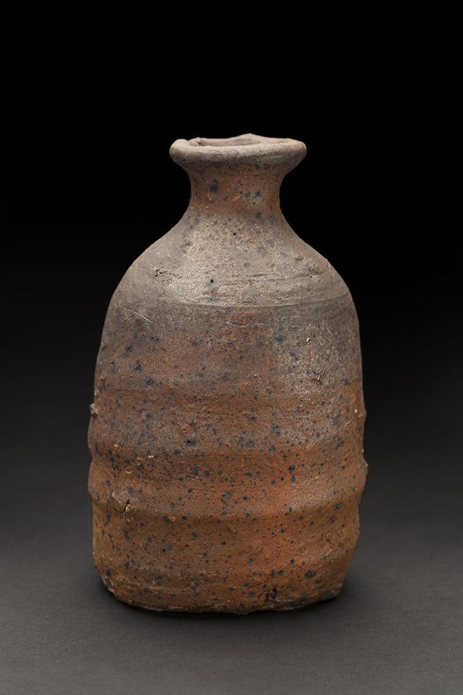 Shigeyoshi Morioka    Sake Bottle (tokkuri)   Ceramic 6 x 3.5 inches 15.2 x 8.9 cm Singed with box SMk 1