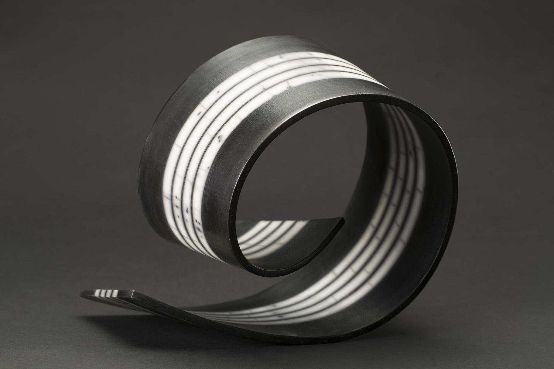 Simcha Even-Chen    Spiral Flow II  , 2014 Slab-built, burnished, terra sigillata, Naked Raku 10 x 11 x 8 inches 25.4 x 27.9 x 20.3 cm SEC 5