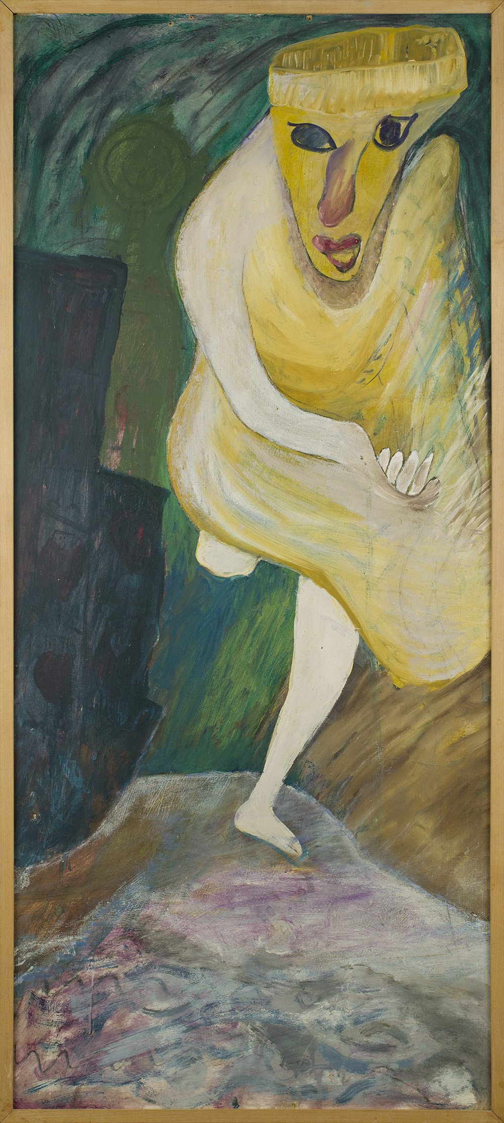 Jon Serl    Woman Chasing Purse Snatcher  , n.d. Oil on canvas 47.5 x 20.5 inches 120.7 x 52.1 cm SJ 493