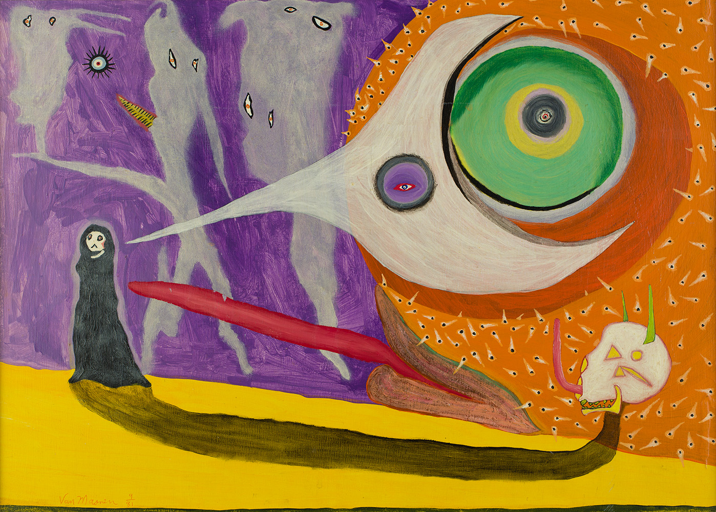 Gregory Van Maanen    The Science of Writing  , 8/28/1981 Acrylic on board 12.5 x 17.25 inches 31.8 x 43.8 cm GVM 73