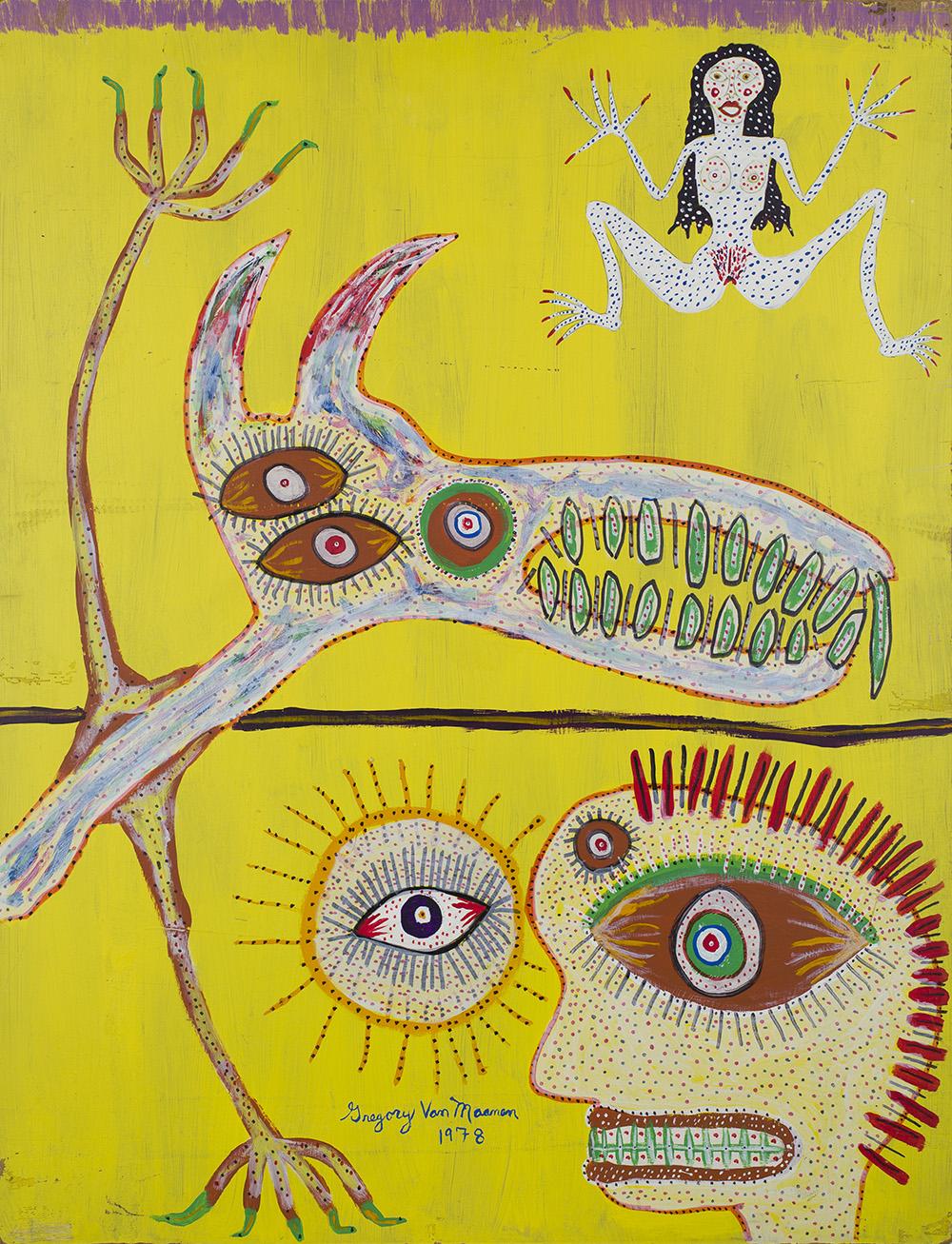 Gregory Van Maanen    Untitled (Splayed Figure on Yellow)  , 1978 Acrylic on board 28.5 x 22 inches 72.4 x 55.9 cm GVM 128