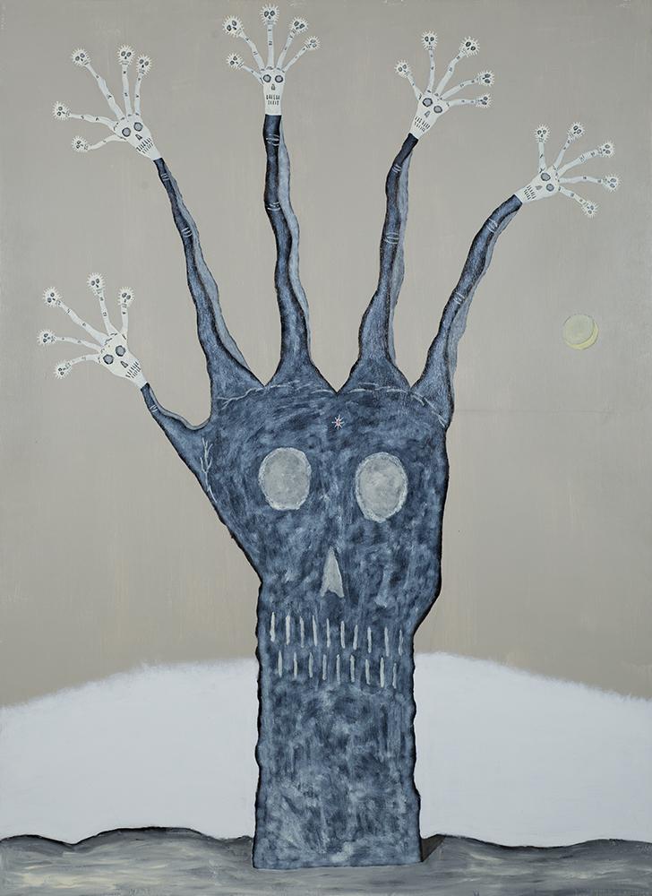 Gregory Van Maanen    Spirit Hand  , 1993 Oil, enamel, acrylic on wood 66 x 48 inches 167.6 x 121.9 cm GVM 754