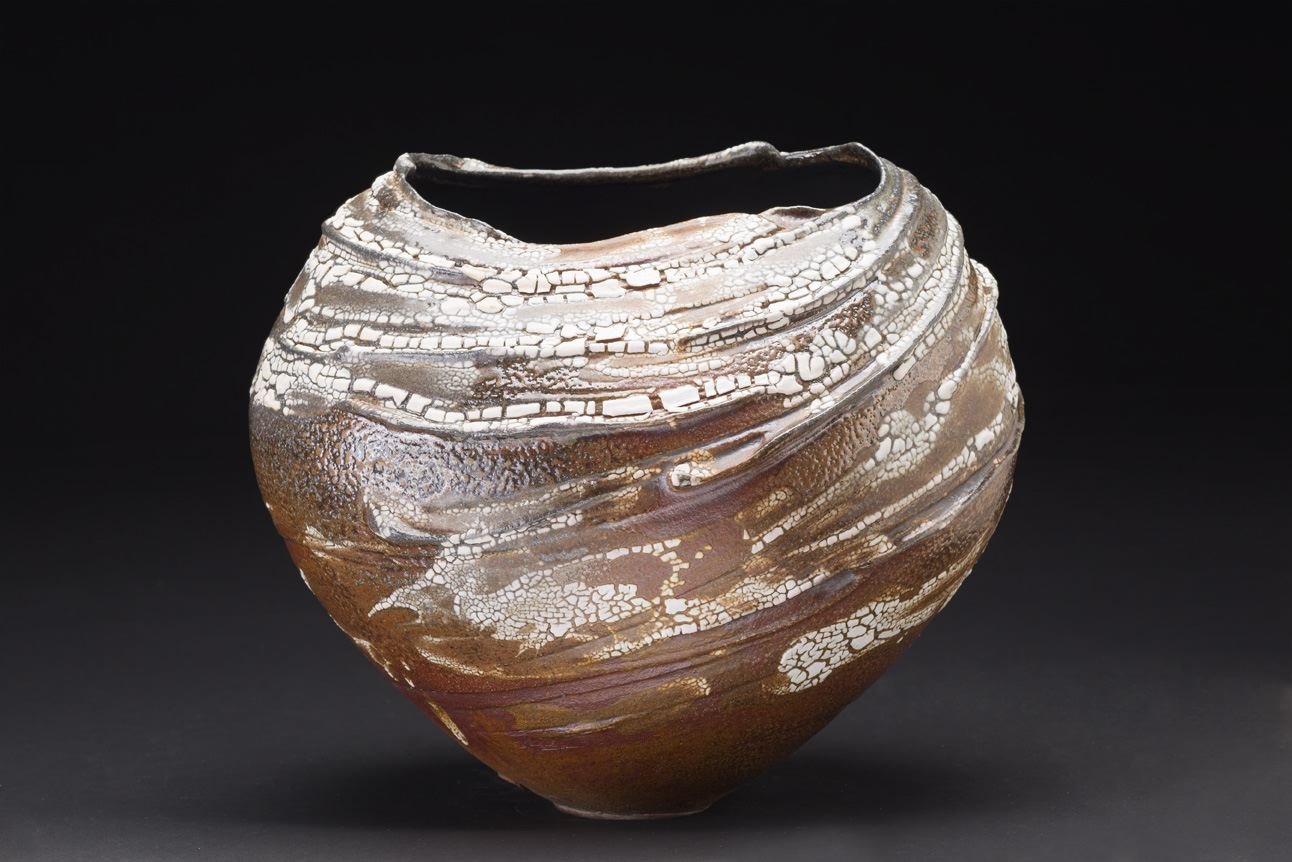 Melanie Ferguson    Voices In The Wind  , 2015 Handbuilt stoneware, sgraffito, crackle and flashing slips, oxide stains, black matt glaze liner. Soda fired, heavy reduction 12 x 10 x 9 inches 30.5 x 25.4 x 22.9 cm MFe 26