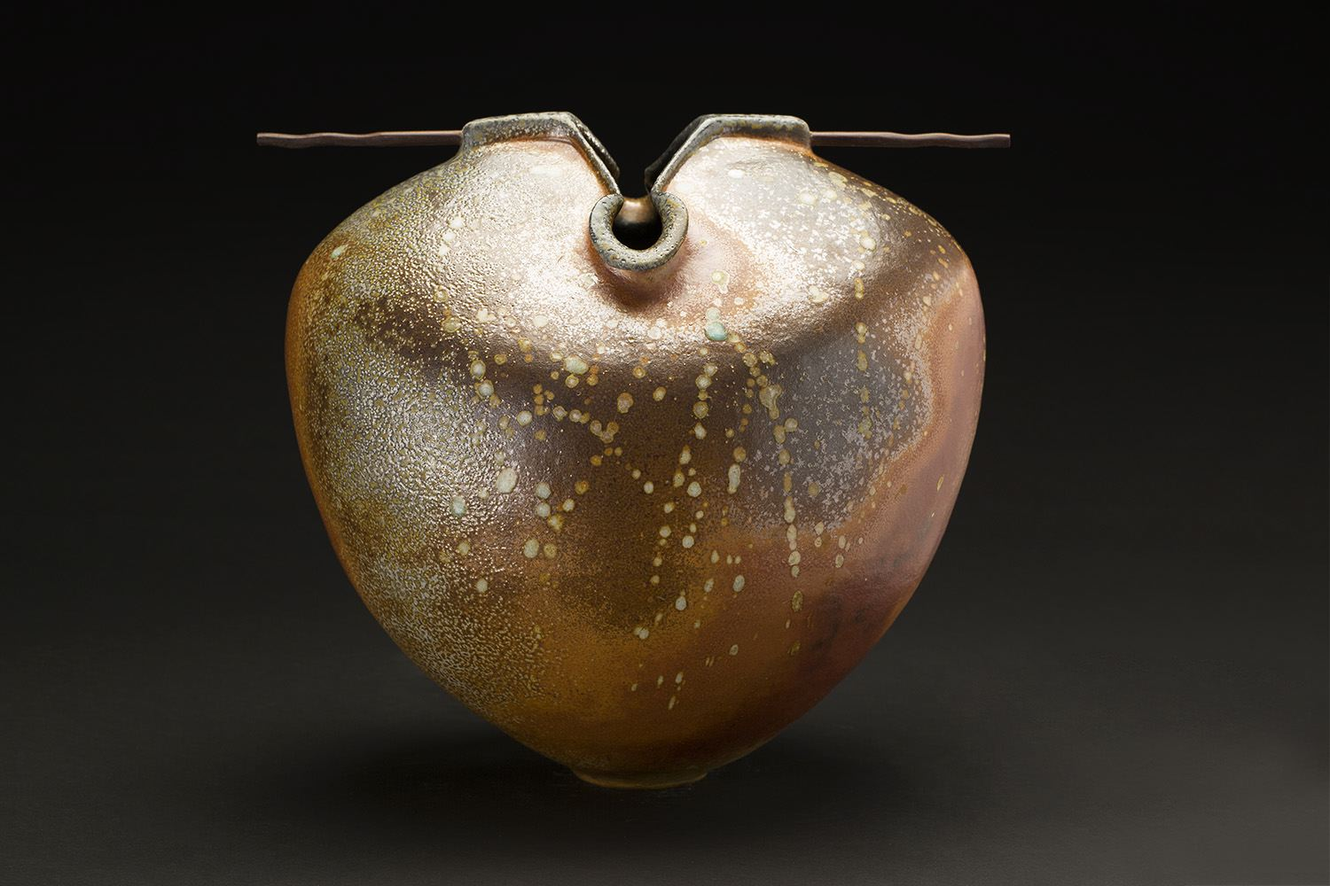 Melanie Ferguson    Flying Above The Storm  , 2016 Hand built stoneware, flashing slip, oxide stains, wood; fired in soda 13 x 14 x 10 inches 33 x 35.6 x 25.4 cm MFe 33