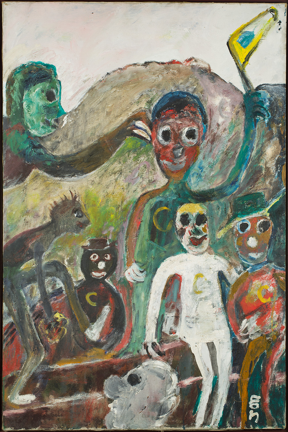 Jon Serl    Behind The Game  , 1988 Oil on canvas 38 x 24 inches 96.5 x 61 cm SJ 497