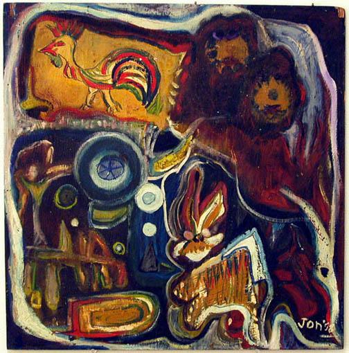 Jon Serl    Venice Carnival  , 1958 Oil on board 20.45 x 20.75 inches 51.9 x 52.7 cm ST 51