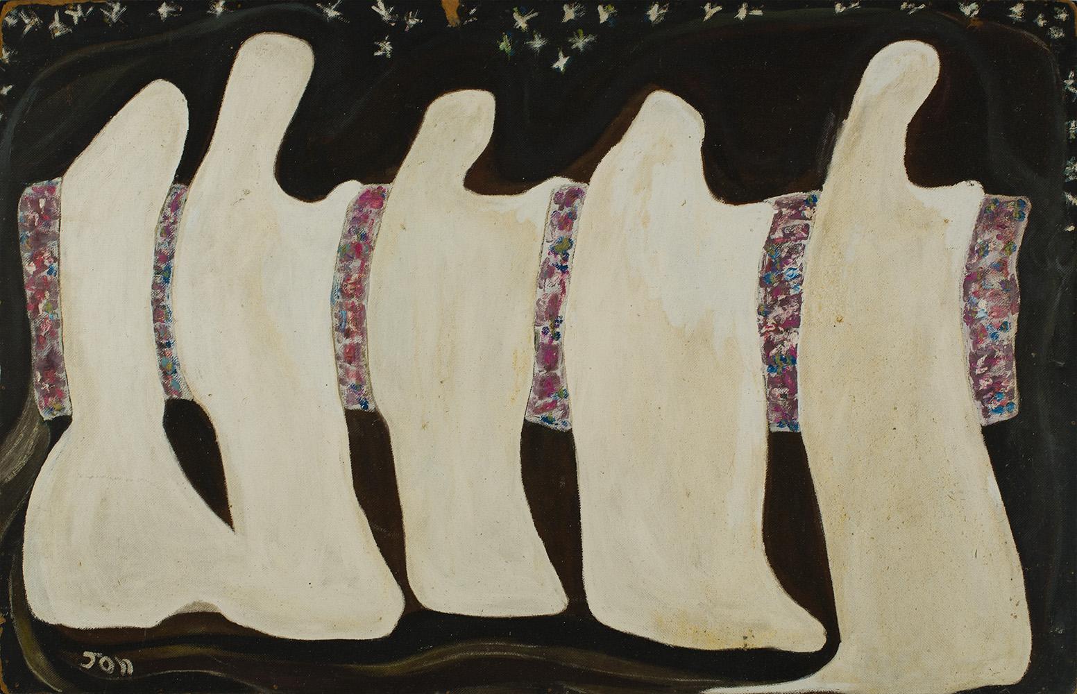 Jon Serl    Five Nuns   Oil on board 31 x 48 inches 78.7 x 121.9 cm SJ 498