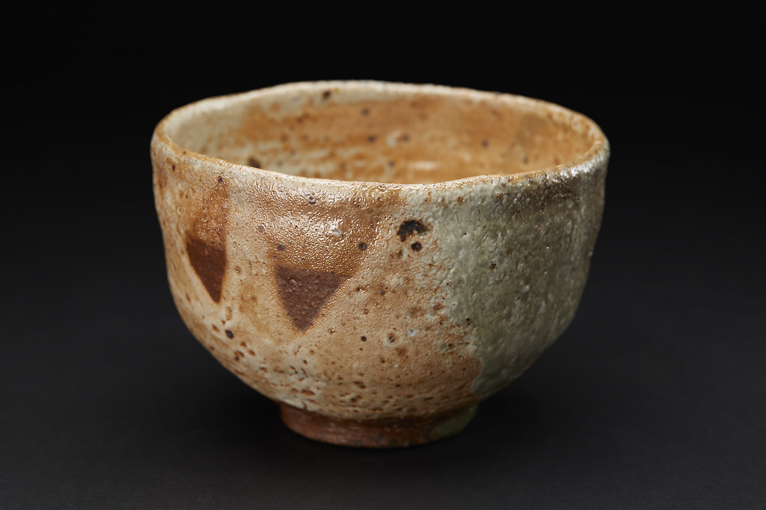 Mike Weber Matcha Chawan, 2016 Ceramic, high-fired in anagama wood-fire kiln for multiple days, shino glazed with natural forming ash glaze 3.5 x 5 x 5 inches 8.9 x 12.7 x 12.7 cm MWe 9
