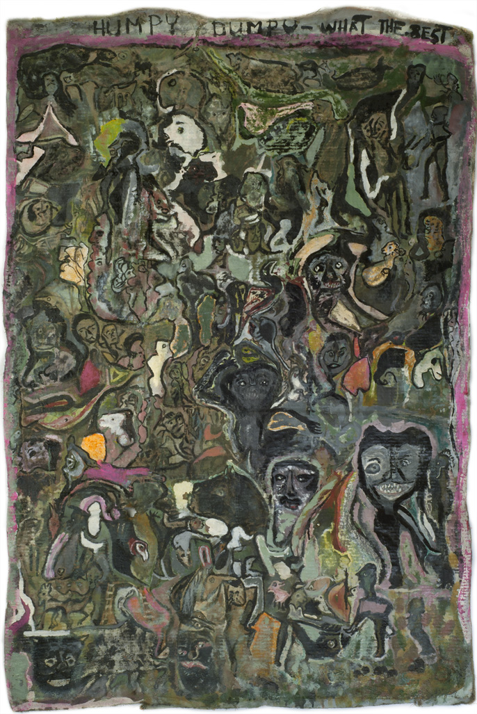 Leonard Daley Humpty Dumpty What The Best, 1992 Mixed media on canvas 55 x 37 inches 139.7 x 94 cm LE 44