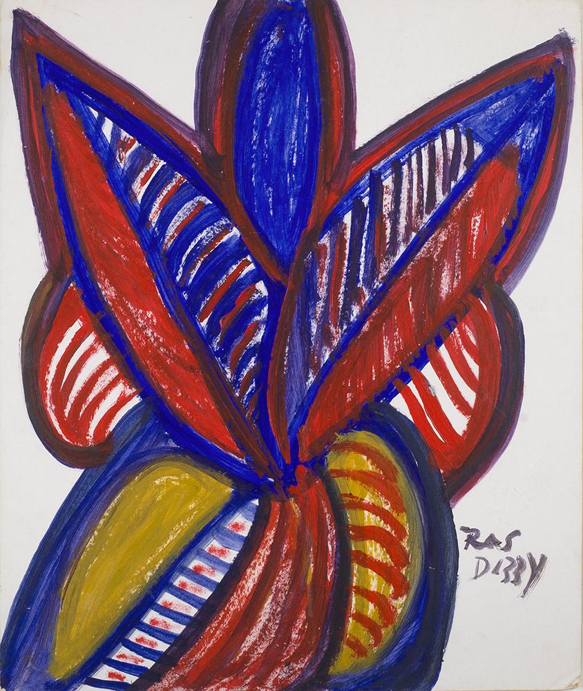Ras Dizzy I Will Be Back, 1992 Tempera on matboard 18.25 x 15.5 inches 46.4 x 39.4 cm RD 65