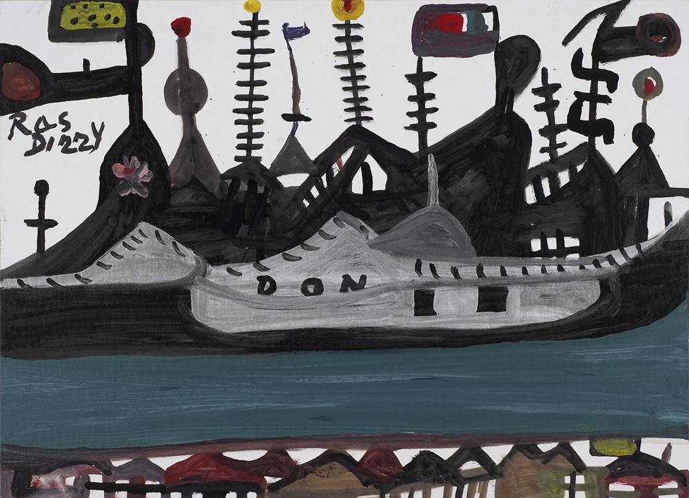 Ras Dizzy The War Ocean, 1998 Oil, tempera on matboard 11 x 15.75 inches 27.9 x 40 cm RD 89