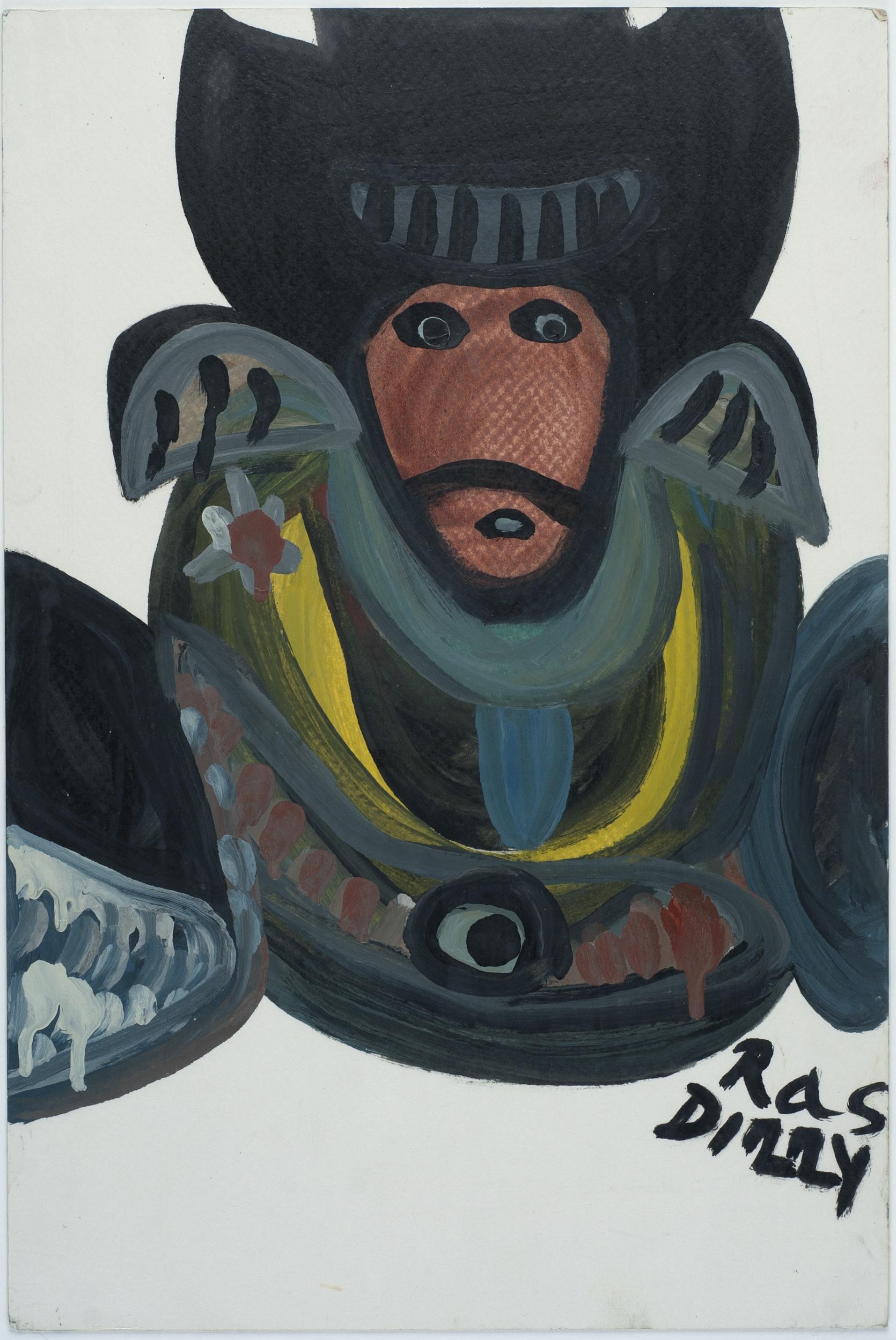 Ras Dizzy When Marshall John Reaches Star 17..., 1998 Oil, tempera on matboard 17.75 x 11.75 inches 45.1 x 29.8 cm RD 103