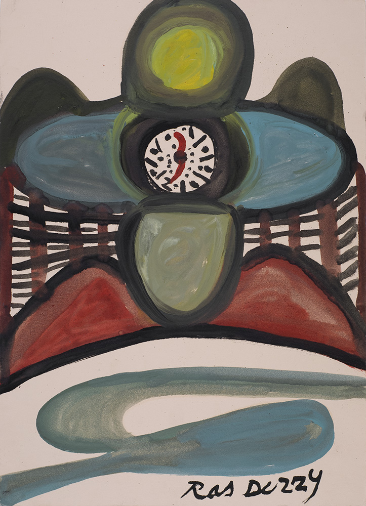Ras Dizzy The Clock of Osanah Calds Us home by Time and Prophicy, 1998 Oil, tempera on matboard 15.25 x 11 inches 38.7 x 27.9 cm RD 123