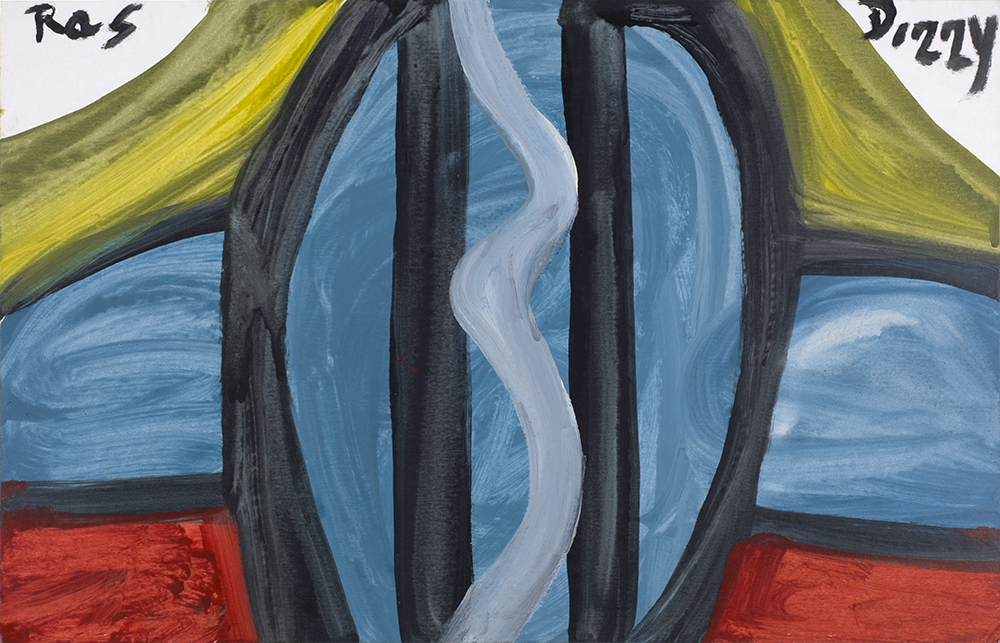 Ras Dizzy Inspiration , 1998 Oil, tempera on matboard 11 x 17 inches 27.9 x 43.2 cm RD 124