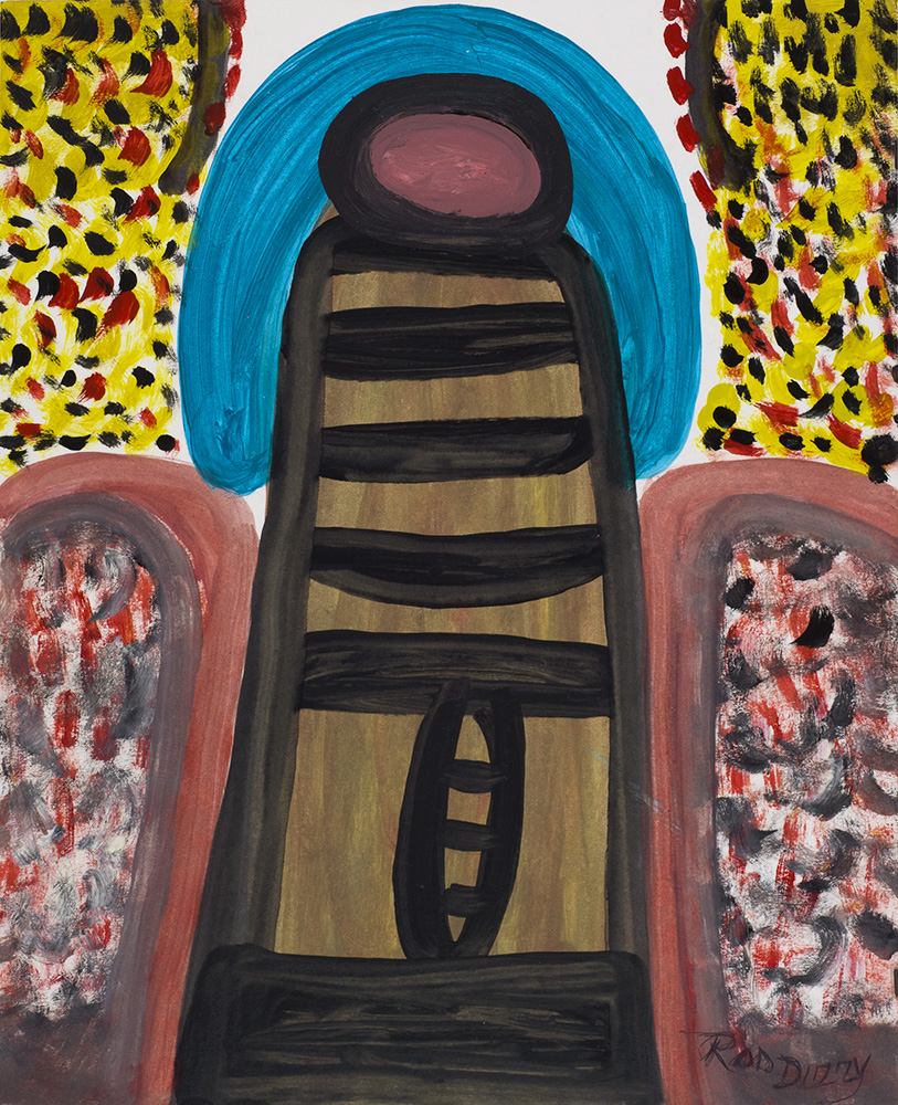 Ras Dizzy On the Tropical of Kingston , 1999 Oil, tempera on matboard 16 x 13 inches 40.6 x 33 cm RD 132