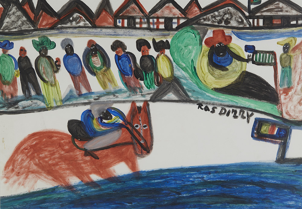 Ras Dizzy A Surprize to the Big Race Day, 1993 Tempera on matboard 16.5 x 23.5 inches 41.9 x 59.7 cm RD 21