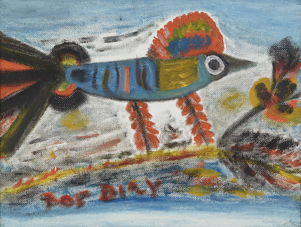 """Ras Dizzy On Some Island These Birds, 1991 Tempera on matboard 13.5 x 17.25 inches 34.3 x 43.8 cm 13.5"""" x 17.25"""" RD 22"""