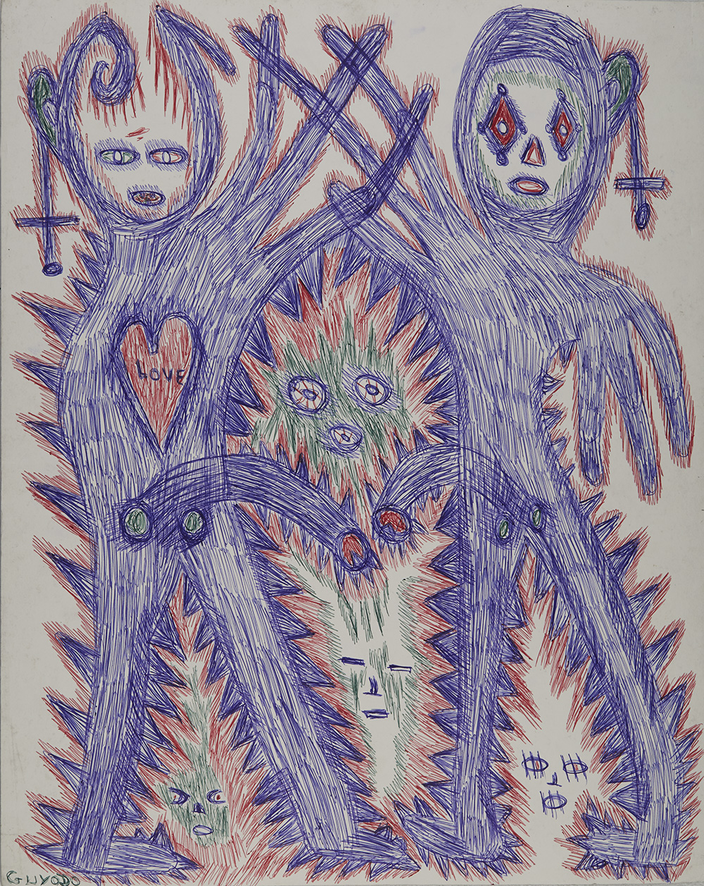 Guyodo (Frantz Jacques)    Untitled  , 2015 Ballpoint pen on matboard  19.5 x 15.5 inches 49.5 x 39.4 cm Gyd 44