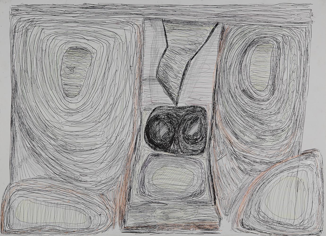 Eric Derkenne    Untitled  , 2006 Ballpoint pen on paper 18.11 x 25.2 inches 46 x 64 cm DERK 1