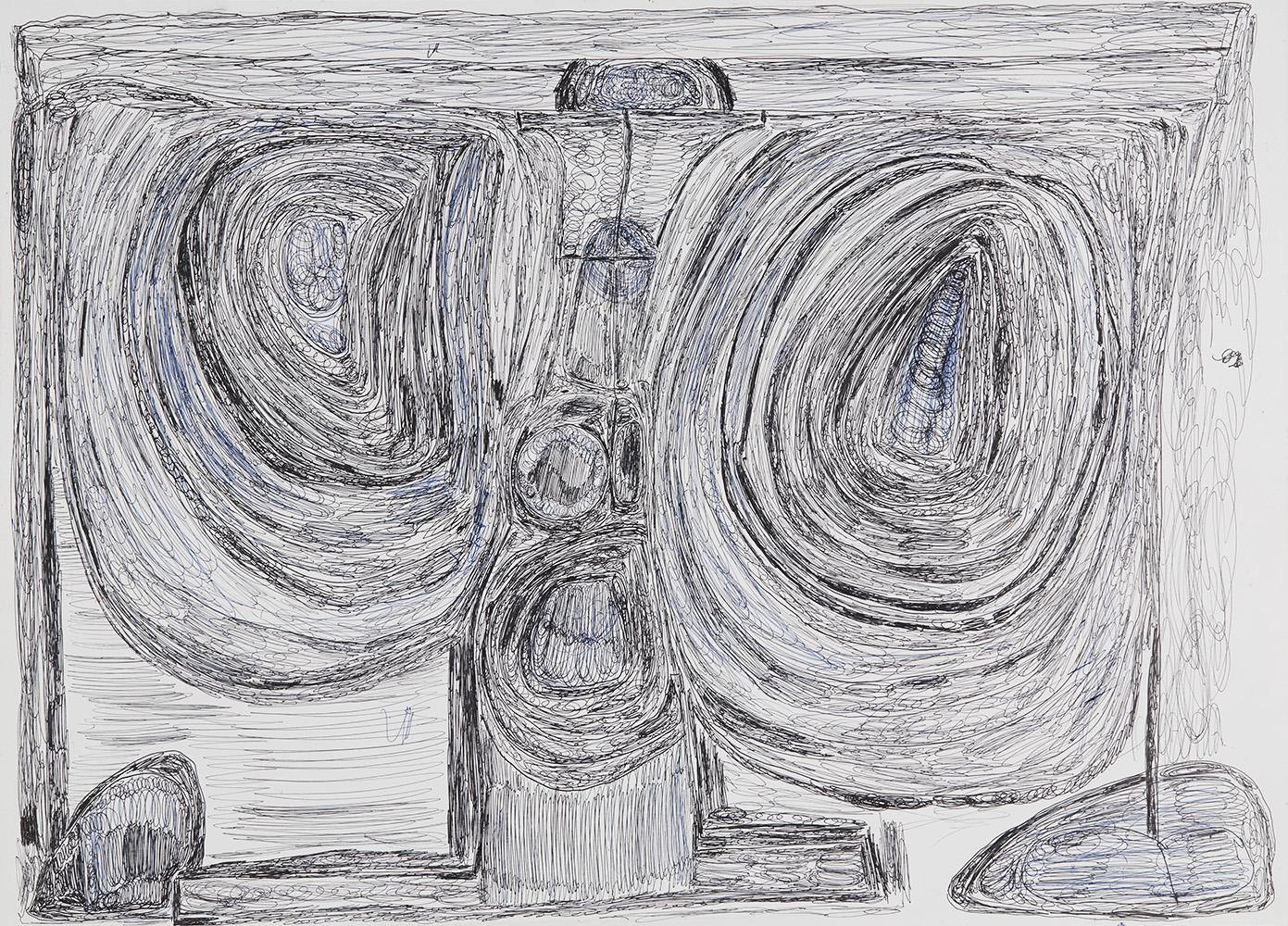 Eric Derkenne    Untitled  , 2004 Ballpoint pen on paper 18.11 x 25.2 inches 46 x 64 cm DERK 2