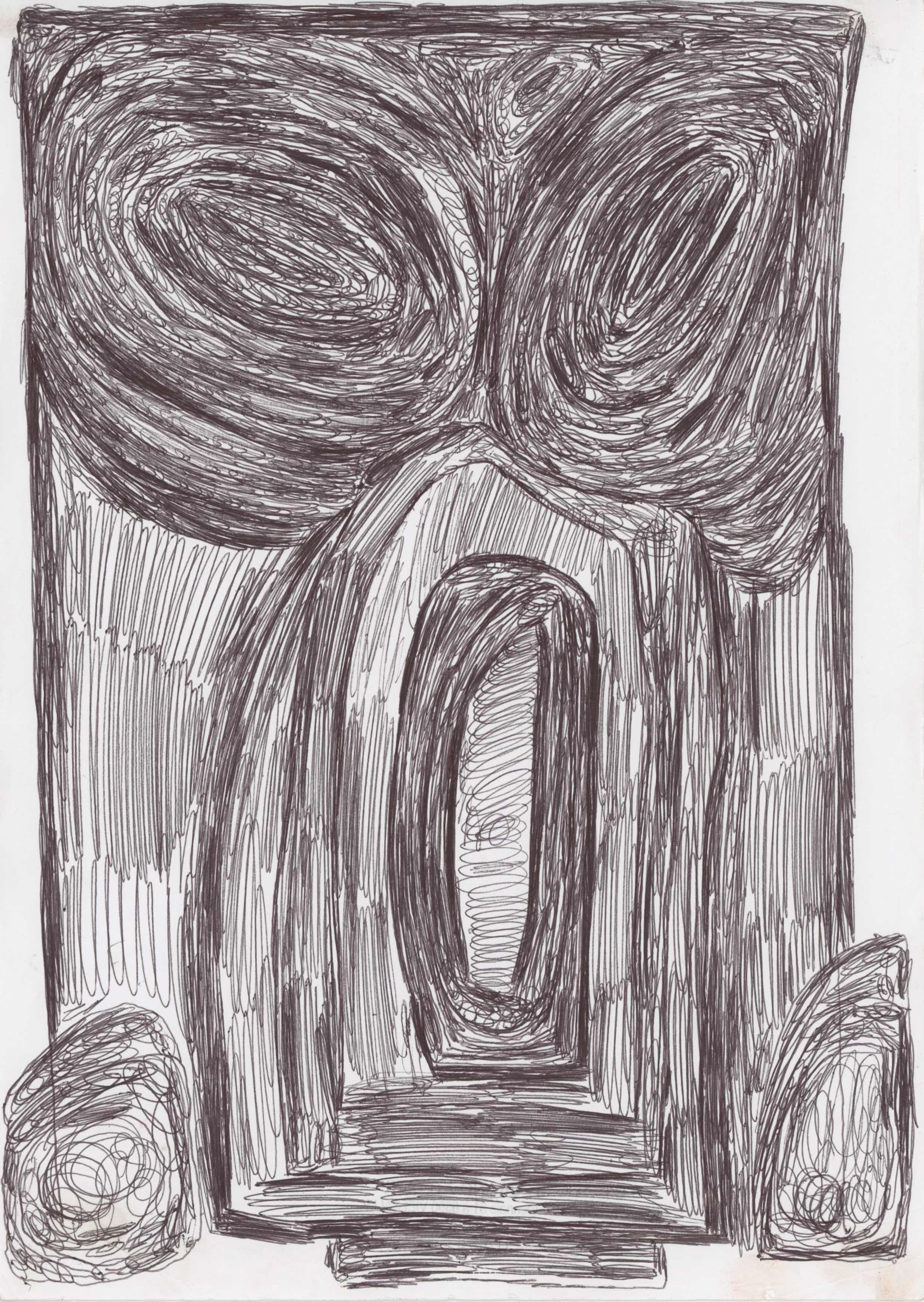 Eric Derkenne    Untitled  , 2004 Ballpoint pen on paper 11.69 x 8.27 inches 29.7 x 21 cm DERK 3