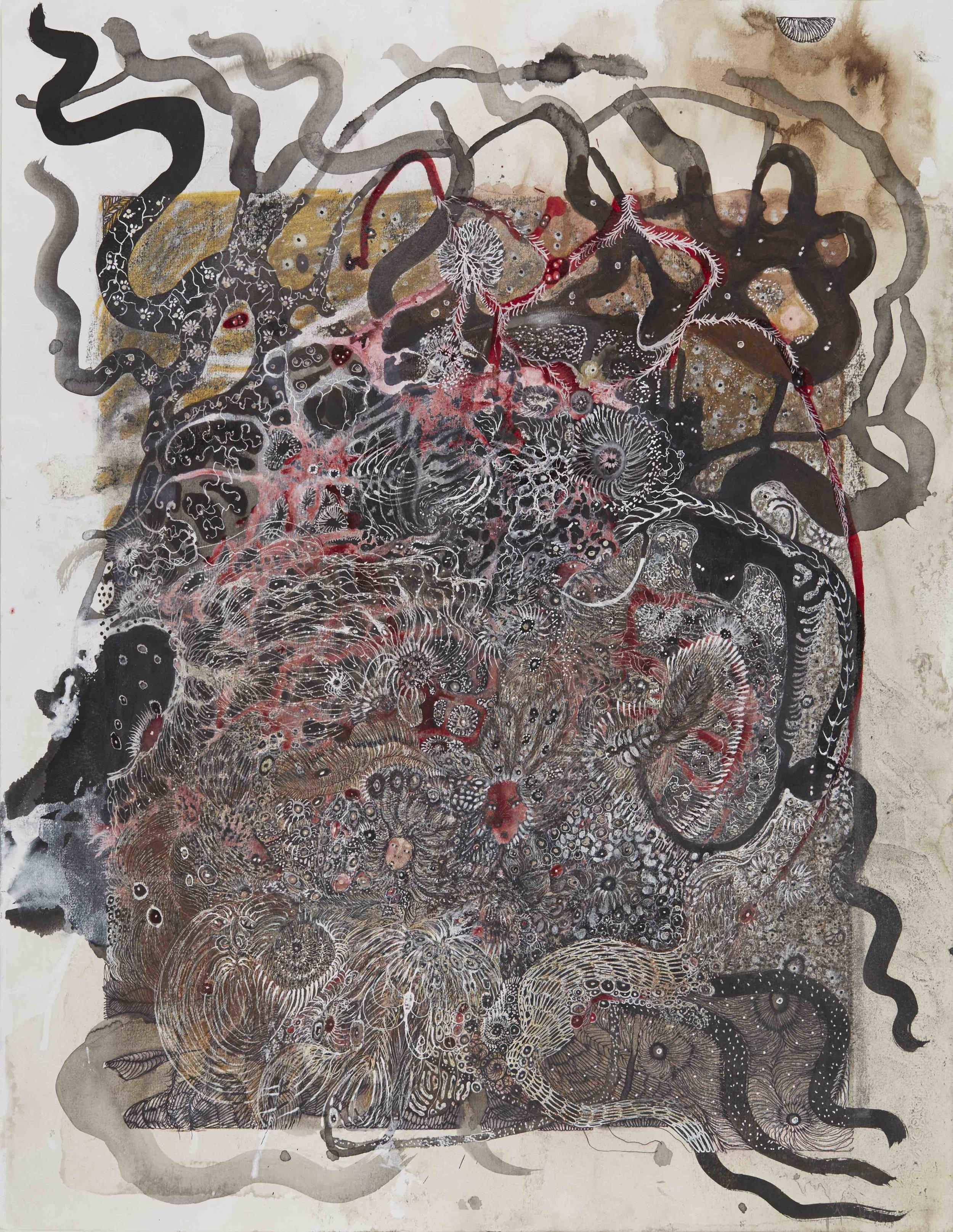 Izabella Ortiz,   Morsures de songes (Bites of dream) No. 1  , 2016, Mixed media on paper, 19.69 x 15.75 inches, 50 x 40 cm, IzO 2