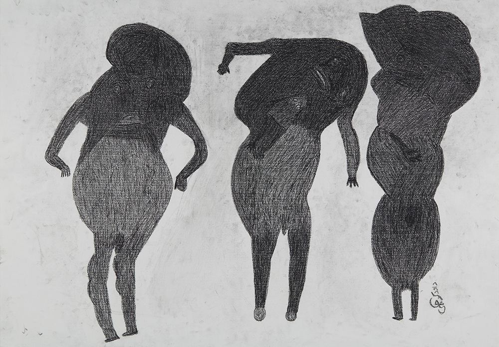 Davood Koochaki 3 Figures (2 male), ca. 2015 Graphite on paper 27.56 x 39.37 inches 70 x 100 cm DKoo 2