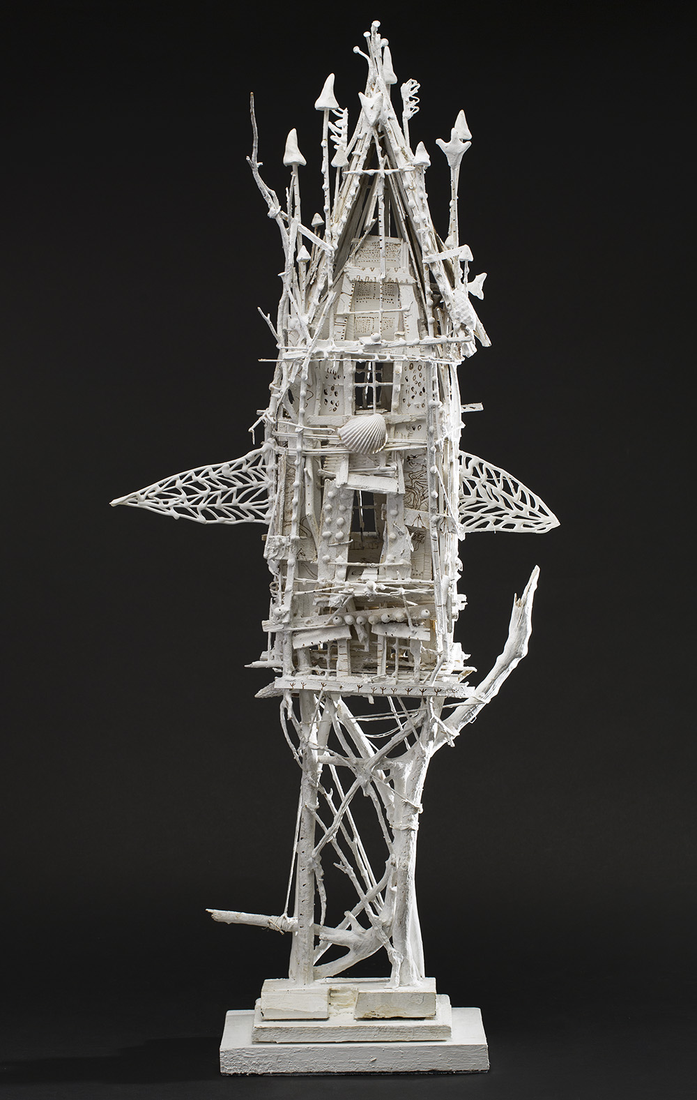 Sylvain Corentin Fox on the Roof, 2015 Wood, canvas, wire, yarn, glue, paint 35.5 x 6 x 11 inches 90.2 x 15.2 x 27.9 cm SCo 58