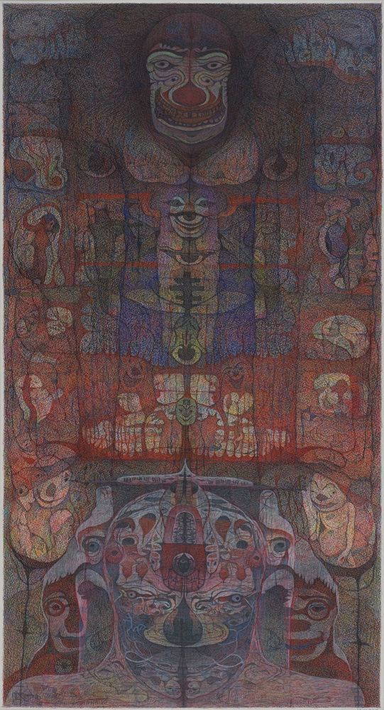 M'onma    Untitled  , 2003 Colored pencil on paper 27.25 x 14.5 inches 69.2 x 36.8 cm IMo 59