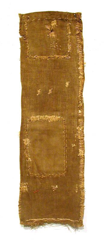 Japanese Textiles    Sake Bag  , Pre-WW II Persimmon juice dye/cotton 27 x 8 in(68.6 x 20.3 cm) JTex 6