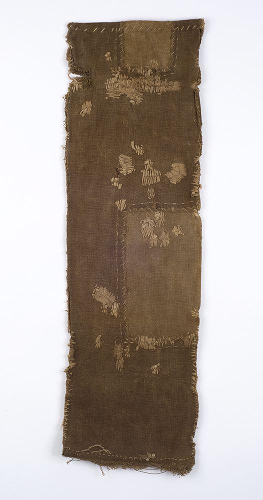 Japanese Textiles    Sake Bag  , Pre-WW II Persimmon juice dye/cotton 29 x 8.5 in(73.7 x 21.6 cm) JTex 9