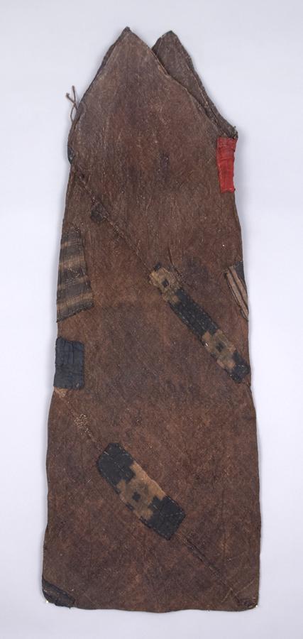 Japanese Textile    Tsunobukuro  , Early 20th C. Persimmon dyed hemp, cotton patches 17.5 x 48 inches 44.5 x 121.9 cm JTex 657