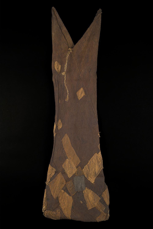 Japanese Textile    Boro Tsunobukuro  , Early 20th C. Persimmon dyed hemp, cotton patches 16 x 47 inches 40.6 x 119.4 cm JTex 658
