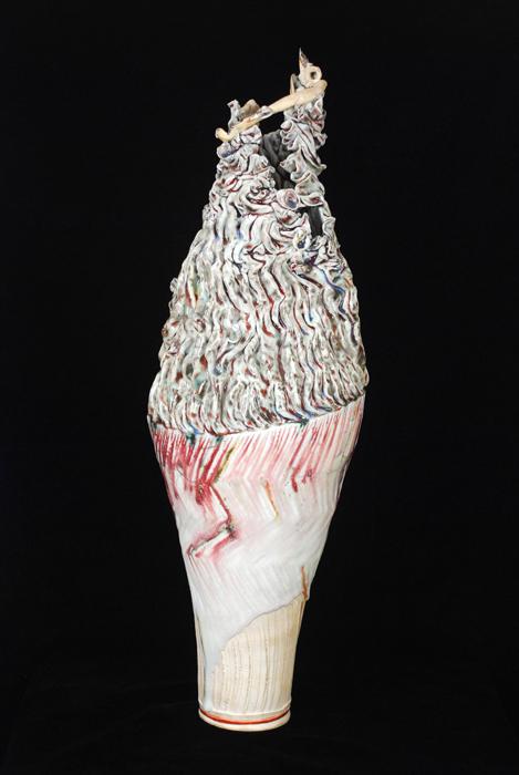 "Kentaro Kawabata    Tall Vase ""Roco""  , 2008 Porcelain and glass 21.25 x 7 x 7 inches 54 x 17.8 x 17.8 cm Kbat 4"
