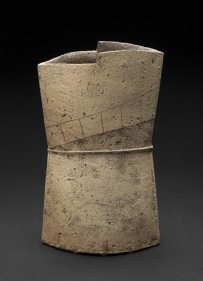 Keiichi Shimizu    Vase Form No. 7  , 2013 Ceramic, mixed clay from Tanba, Hyogo prefecture                        12.5 x 7.5 x 4.5 inches 31.8 x 19.1 x 11.4 cm KSh 1