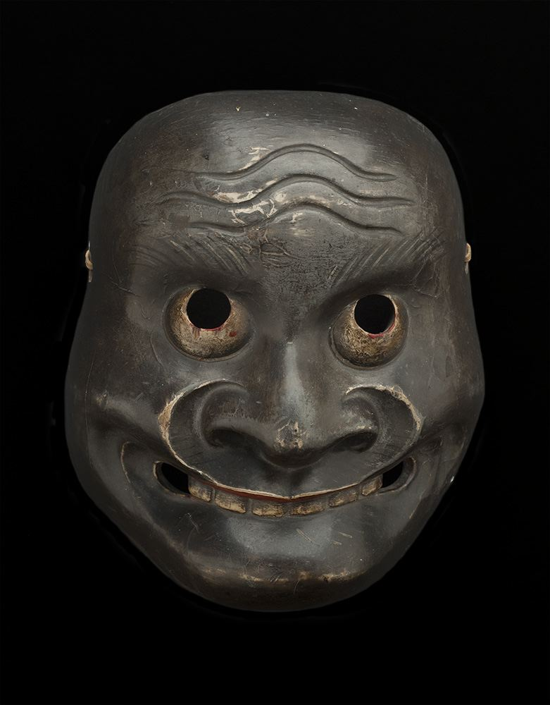 Masks    Japan - Kyogen, Kentoku  , Late 19th- Early 20th C. Lacquered wood 7.5 x 6.25 x 3.25 inches 19.1 x 15.9 x 8.3 cm M 56