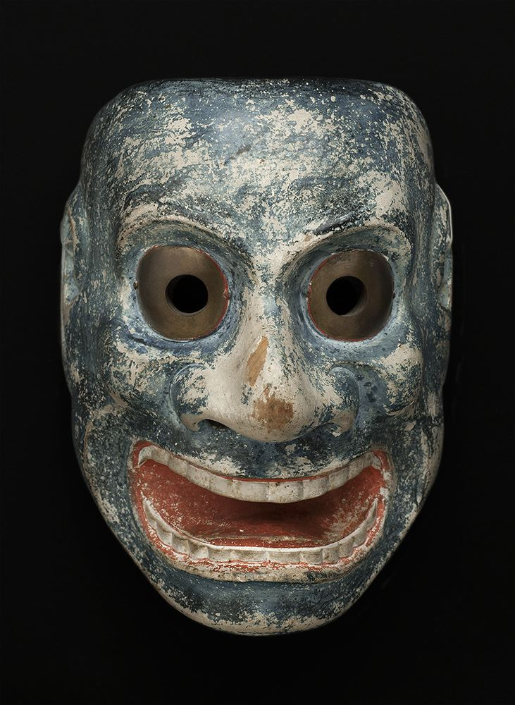 Masks    Japan - Shrine Mask, Otobide  , 19th C. Lacquered wood, brass 9 x 6.75 x 5 inches 22.9 x 17.1 x 12.7 cm On verso M 62