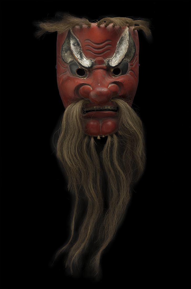 Masks    Japan - Tengu Mask  , 19th C. Lacquered wood, hair 8.25 x 6.25 x 6.5 inches 21 x 15.9 x 16.5 cm M 64