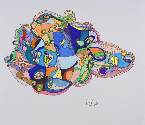 Tae Takubo    Untitled  , 2012 Marker on paper 12.8 x 14.49 inches 32.5 x 36.8 cm TTk 4