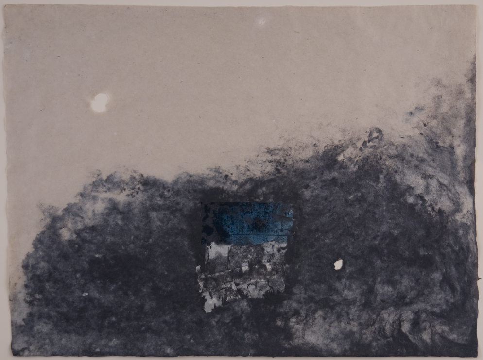 Yuko Kimura    Waterscape  , 2011 Handmade paper, Natural Abaca and black denim pulp, indigo aquatint on late Edo period Japanese bookpage embedded 17.5 x 23.5 inches 44.5 x 59.7 cm YuK 17