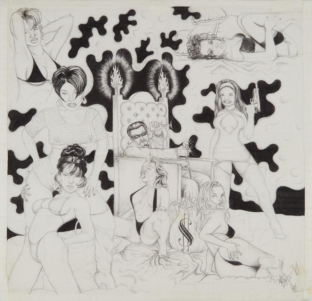 Anonomous Paño Artist    Untitled  , 1997 Ballpoint pen on handkerchief 15.5 x 15 inches 39.4 x 38.1 cm APA 1