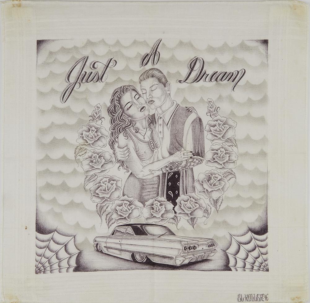 El Roller    Just A Dream  , 1996 Ink on handkerchief 15 x 15.5 inches 38.1 x 39.4 cm ELR 1