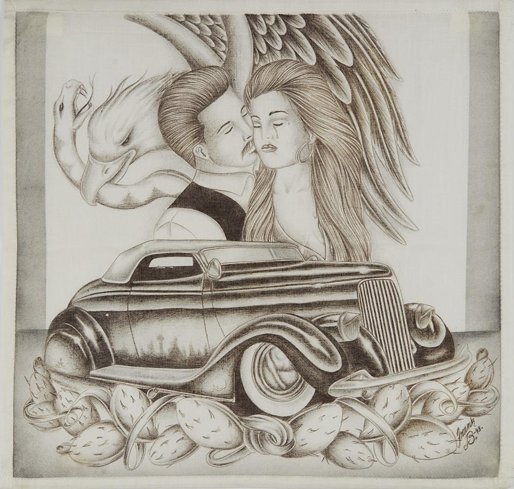 Frank B.    Untitled  , 1993 Ink on handkerchief 15 x 15.5 inches 38.1 x 39.4 cm FB 1