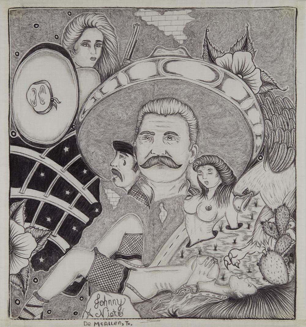 Johnny Nieto    Untitled  , n.d. Ink Handkerchief 15.25 x 14.25 inches 38.7 x 36.2 cm JNI 1
